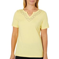 Coral Bay Womens Embroidered Triangle Notch Neck Top