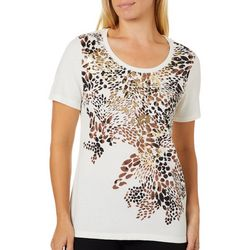 Coral Bay Womens Cheetah Print Scoop Neck Top