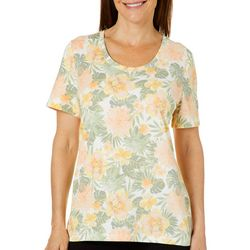 Coral Bay Womens Tropical Floral Palm Print Short Sleeve Top