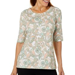 Coral Bay Womens Paisley Print Wide Scoop Top