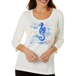 Coral Bay Womens Embellished Seahorse Round Neck Top