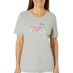 Coral Bay Womens Jeweled Embroidered Spring Bike Ride Top