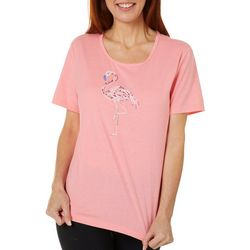 Coral Bay Womens Jeweled Flamingo Crew Neck Top