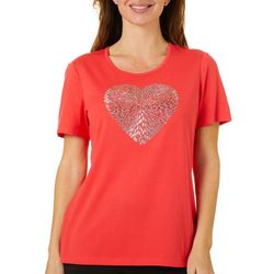 Coral Bay Womens Jeweled Embroidered Heart Top