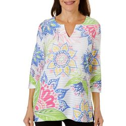 Coral Bay Womens Floral Print Textured Tunic Top