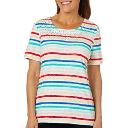 Coral Bay Womens Paint Striped Jewel Neck Top