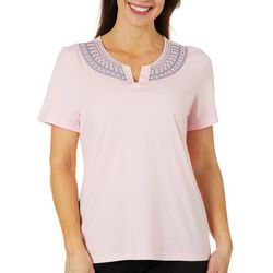 Coral Bay Womens Embroidered Floral Striped Split Neck Top
