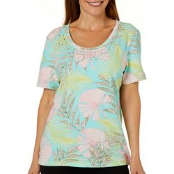Coral Bay Womens Rhinestone Fans & Palms Print Top