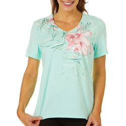 Coral Bay Womens Embellished Hibiscus Print Top
