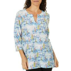 Coral Bay Womens Sailboat Print Split Neck Top