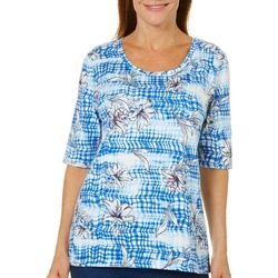 Coral Bay Womens Plaid Hibiscus Top