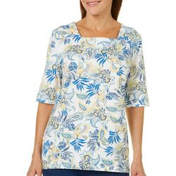 Coral Bay Womens Floral Paisley Square Neck Top
