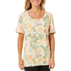 Coral Bay Womens Staycation Tropical Floral Short Sleeve Top