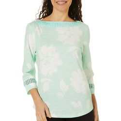 Coral Bay Womens Floral Print Crochet Trim Boat Neck Top