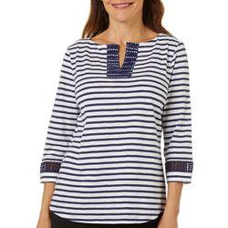 Coral Bay Womens Stripe Embroidered Split Neckline Top
