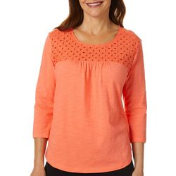 Coral Bay Womens Essentials Eyelet Top