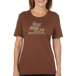 Coral Bay Womens Staycation Embellished Owl Top