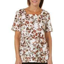 Coral Bay Womens Staycation Leafy Floral Top