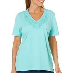 Coral Bay Womens Staycation Embroidered V-Neck Top