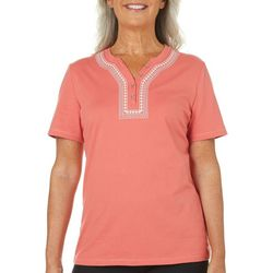 Coral Bay Womens Embroidered Button Top