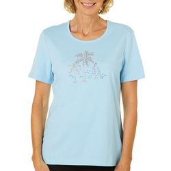 Coral Bay Womens Embellished Sailboat Scene Top