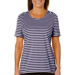Coral Bay Womens Striped Button Shoulder Top