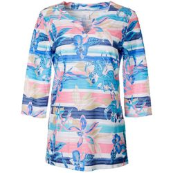 Coral Bay Womens Hibiscus Stripe Textured Tunic Top