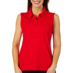 Coral Bay Energy Womens Solid Sleeveless Zip Polo