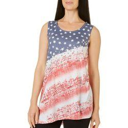 Coral Bay Womens American Flag Asymmetrical Tank Top