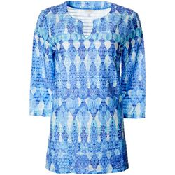 Coral Bay Womens Batik Print Textured Tunic Top