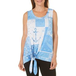 Coral Bay Womens Patchwork Print Tie Front Top