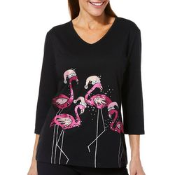 Coral Bay Womens Embellished Festive Flamingos Top