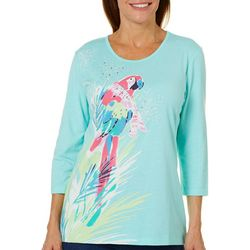 Coral Bay Womens Embellished Winter Parrot Top