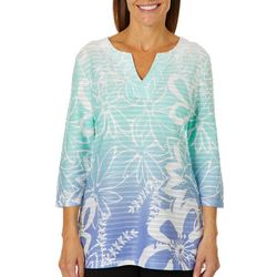 Coral Bay Womens Ombre Textured Floral Print Top