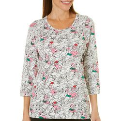 Coral Bay Womens Jolly Flamingos Top