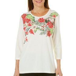 Coral Bay Womens Embellished Poinsettia Top