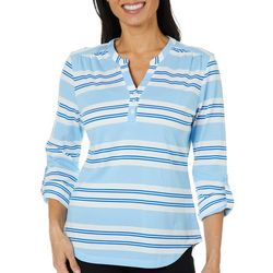 Coral Bay Womens Block Striped Roll Tab Top