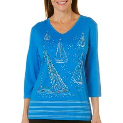 Coral Bay Womens Festive Jeweled Sailboat Top