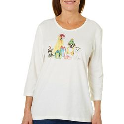 Coral Bay Womens Embellished Jolly Puppies Top