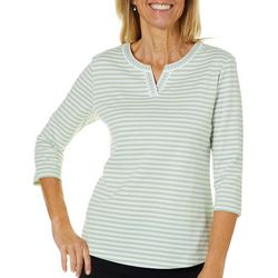Coral Bay Womens Striped Embroidered Neck Top