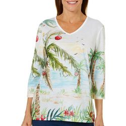 Coral Bay Womens Tropical Christmas Palm Tree Top