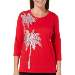 Coral Bay Womens Embellished Tropical Palm Shimmer Top