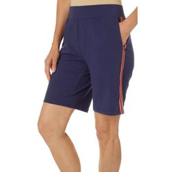 Coral Bay Energy Womens Solid Athletic Stripe Detail Shorts