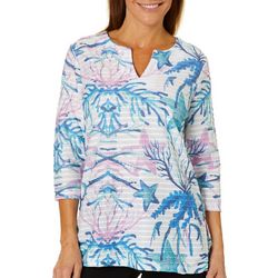 Coral Bay Womens Textured Striped Coastal Print Top