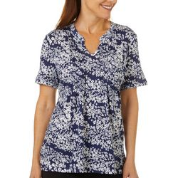 Coral Bay Womens Floral Pleated Short Sleeve Top
