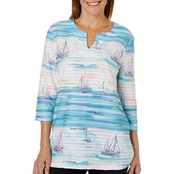 Coral Bay Womens Textured Striped Sailboat Print Top