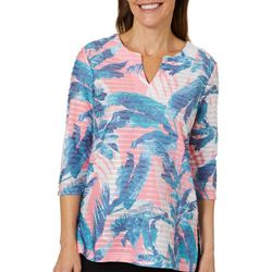 Coral Bay Womens Textured Striped Palm Print Top