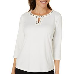 Coral Bay Womens Embellished Solid Keyhole Neck Top