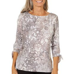 Coral Bay Womens Animal Floral Tie Sleeve Top