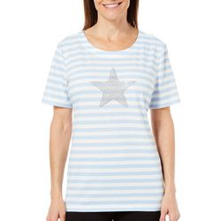 Coral Bay Womens Star Horizontal Stripes Top